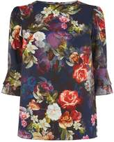 Oasis Photographic floral flute slveeve top