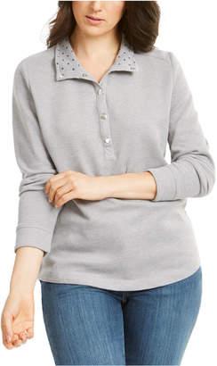 Karen Scott Sport Printed-Collar Snap-Button Top