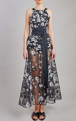 Elie Saab Tulle Embroidery Midi Dress