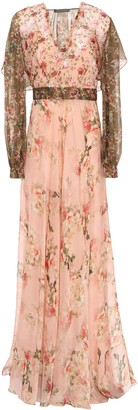 Alberta Ferretti Ruffled Layered Floral-print Chiffon Maxi Dress