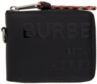 Burberry Black Horseferry Print Zip-Around Wallet