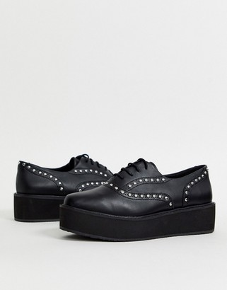 Monki studded platform brogues