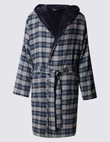 Marks and Spencer Brushed Cotton With Fleece Lining Checked Gown
