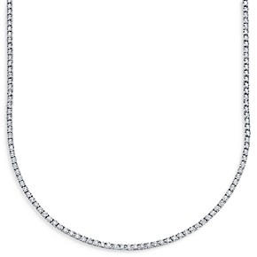 Moon & Meadow Diamond Tennis Necklace in 14K White Gold, 3.96 ct. t.w. - 100% Exclusive