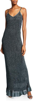 M Missoni Metallic V-Neck Long Slip Dress