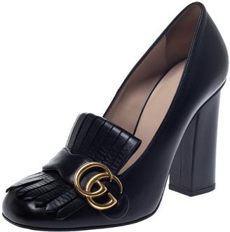 Gucci Black Leather GG Marmont Fringe Detail Block Heel Pumps Size 38