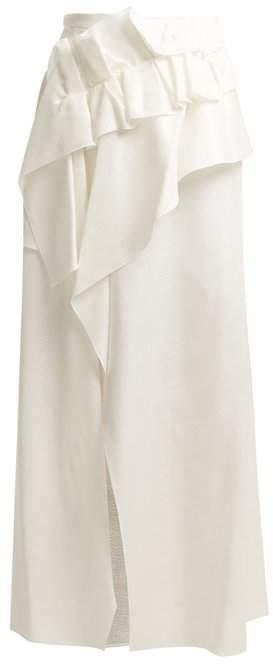 DELPOZO Asymmetrical Ruffle Trimmed Skirt - Womens - White