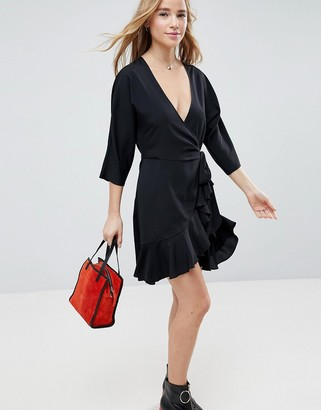 Asos Design ASOS Wrap Front Mini Frill Dress