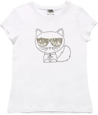 Karl Lagerfeld Paris Choupette Cotton Blend Jersey T-shirt