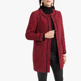 Anne Weyburn Woven Fitted Longline Jacket in Tweed Effect