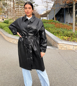 Collusion Plus exclusive PU trench coat in black