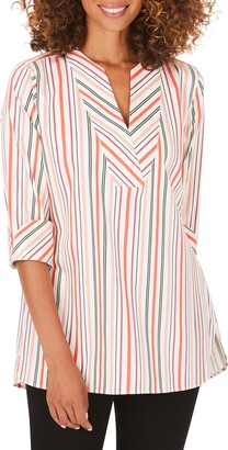 Foxcroft Vaughn Desert Stripe Stretch Cotton Blend Tunic Top