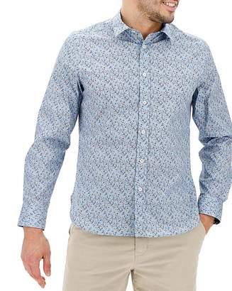 Jacamo Blue Ditsy Print Long Sleeve Shirt Long