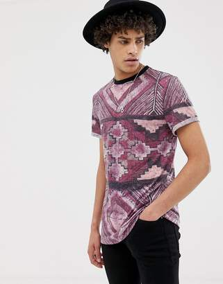 Asos Design DESIGN T-Shirt With All Over Aztec Print In Linen Mix Fabric-Red