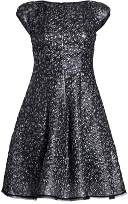Talbot Runhof Metallic Jacquard Cap-Sleeve Cocktail Dress