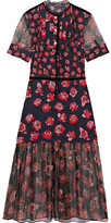 Markus Lupfer Susie Floral-print Silk Crepe De Chine And Chiffon Midi Dress - Red