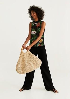 MANGO Tropical print top black - XS - Women