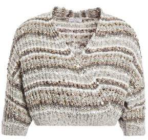 Brunello Cucinelli Cropped Sequin-embellished Striped Intarsia And Boucle-knit Cotton Wrap Cardigan