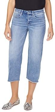 NYDJ Frayed Hem Capri Wide-Leg Jeans in Coheed