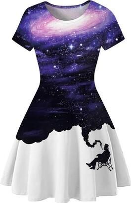 Ocean Plus Women's Starry Sky Digital Print A-Line Short Sleeve Round Neck Dress Short Sleeve T-Shirt Dress Swing Skirt (S/6-8