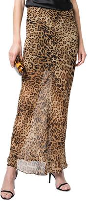Nili Lotan Ella Leo Print Silk Maxi Skirt