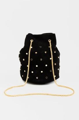 francesca's Aviie Nailhead Faux Suede Bucket Bag - Black