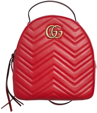 Gucci Marmont Red Leather Backpacks