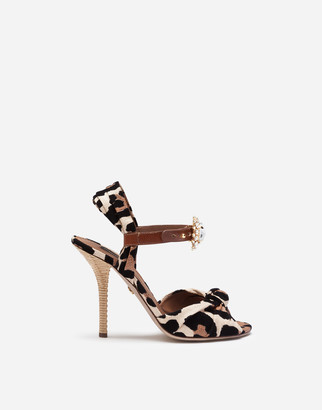Dolce & Gabbana Raffia Sandals With Flocked Leopard Print With Bejeweled Buckle
