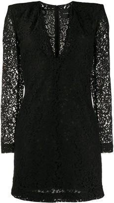 John Richmond structured-shoulder lace mini dress