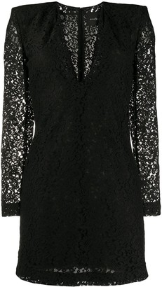 John Richmond Structured-Shoulder Lace Mini Dress