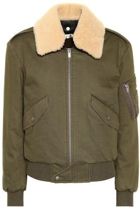 Saint Laurent Shearling-trimmed bomber jacket