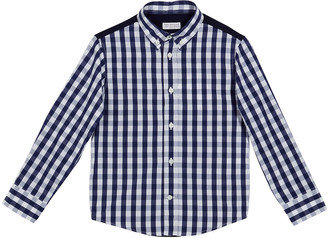 Brunello Cucinelli Boy's Check Button-Down w/ Jersey Back, Size 12-14