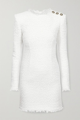 Balmain Button-embellished Tweed Mini Dress - White