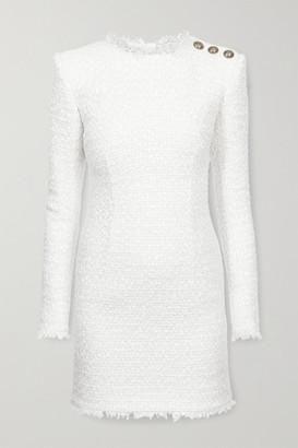 Balmain Button-embellished Tweed Mini Dress - White
