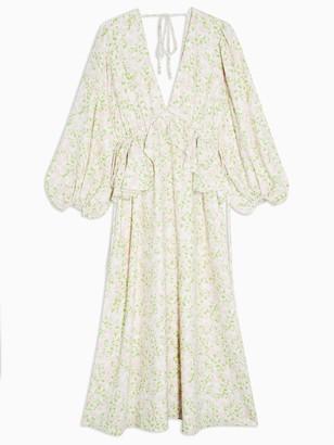Topshop Double Frill V Neck Frill Midi Dress - Ivory