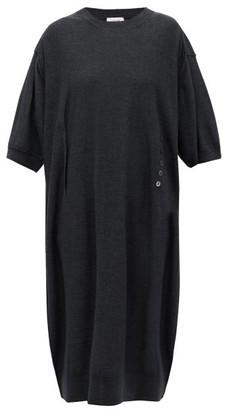 Lemaire Button-front Merino-wool Blend Dress - Womens - Dark Grey
