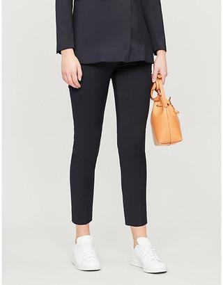 Sandro Velvet-trim stretch-woven trousers