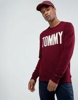 Tommy Hilfiger Crew Sweatshirt Tommy Logo In Burgundy