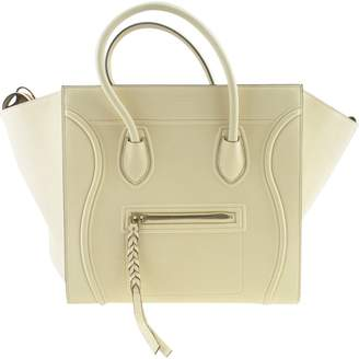 Celine Luggage Phantom White Leather Handbags