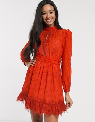 French Connection lace printed mini skater dress in poppy red