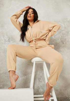 Missguided Plus Size Cream Zip Hoodie And Joggers Co Ord Set