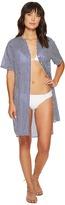 MICHAEL Michael Kors Stable Stripe High Slit Shirt Dress Cover-Up Women's Swimwear