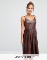 Asos Midi Pleated Cami Dress in Bronze Metallic