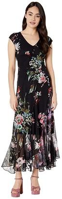 Fuzzi Seamed Patchwork Long Dress (Black) Women's Dress