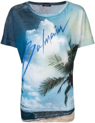 Balmain Linen T-shirt with logo print