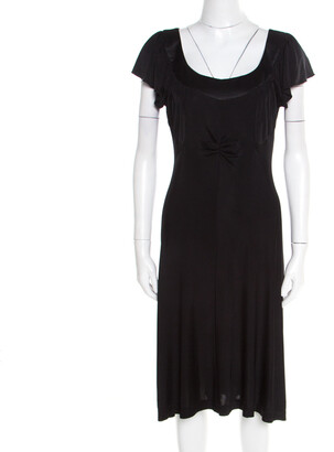 Philosophy di Alberta Ferretti Black Knit Ruched Front Flutter Sleeve Dress L