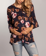Navy Floral Maternity Bell-Sleeve Top
