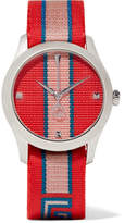 Gucci Striped Canvas And Stainless Steel Watch - Tomato red
