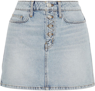 Current/Elliott The Zig-zag Studded Denim Mini Skirt