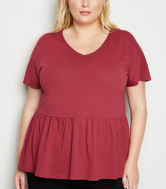New Look Curves V Neck Peplum T-Shirt
